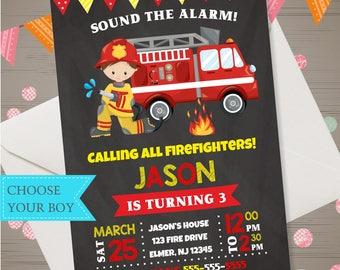 Firetruck Invitation Fireman Invitation Firetruck Birthday Invitation Fireman Invite Firefighter Invitation Firefighter Birthday Party