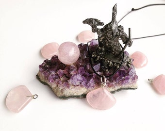 Fan Shaped Rose Quartz Pendant with Cord