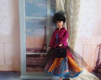 Barbie clothes, Doll clothes, Barbie outfit, Retro Barbie clothes, Barbie dress, Doll clothes, Barbie Hat, Barbie bag, Barbie shoes