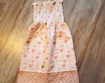 Handmade flamingos girl dress