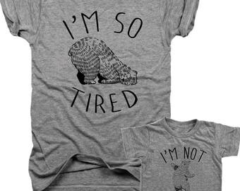 2 pack, I'm so Tired, I'm not Tired, mama Bear, mom and baby, baby shower gift, baby bear, new mom gift, mama and baby, mother day, B105
