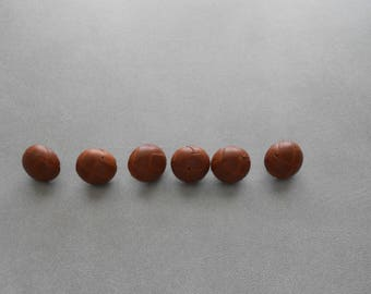 Set of 6 Small Brown Leather Buttons