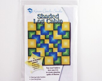 Quilting Pattern, Shaded Log Cabin, Easy Beginners Quilt, Size 80x80 in, Log Cabin Variation, Karen Combs, Quilt of Illusion, Pattern KCSlog