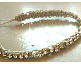 Gold and silver rhinetone hemp anklet or braclet