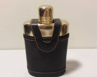 Vintage Flask with Genuine Leather Sleeve