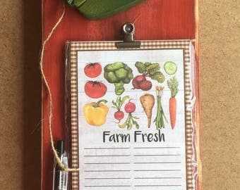 Reclaimed wood shopping list/ recipe holder