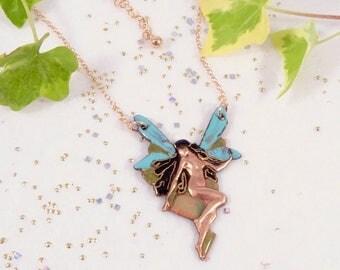 """Pendant """"Fairy"""", print enamelled copper, enamel great fire"""""""