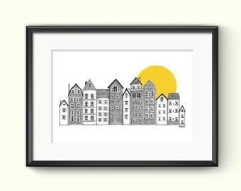 Sunny City Houses Art Illustration Print