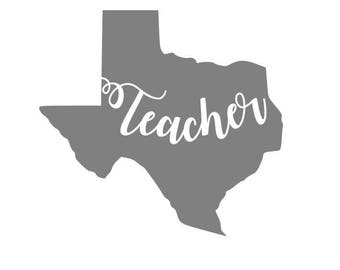 Texas Teacher Outline of Texas  SVG PNG PDF