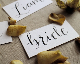 Custom hand written Calligraphy place cards