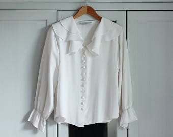 White Shirt Blouse Vintage Frill Pearls Ethereal Floral Elegant Retro Women Top Collar Loose Smart Look / Small / Medium size