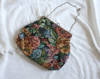 Clutch Bag Floral Flowers Pattern Vintage Silver Women Girl Retro Oldschool Summer Spring Delicate Girly Evening Accessories / Small size