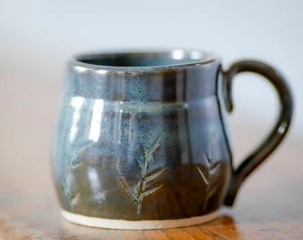 Handmade ceramic mug with branches, handmade mug, pottery mug, ceramic mug