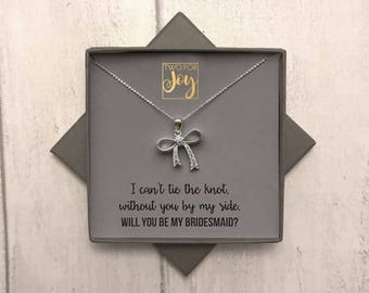 Bow necklace, sterling silver bow pendant necklace, personalised gift, bridesmaid gift, wedding, tie the knot, will you be my bridesmaid ?