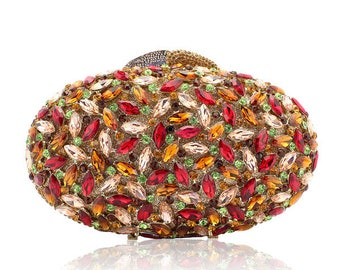 Glamorous colorful evening clutch with  high quality Crystals