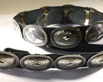 Vintage Navajo Sterling Silver 19 Conchos Black Leather Belt FREE DOMESTIC SHIPPING