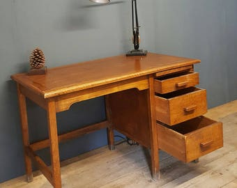Sorry now Sold sold sold Vintage 1930's to 50s Oak Single Pedestal Desk Table industrial, mid century...vintage/retro/antique.