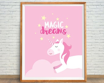 Pink Unicorn Print, Pink Nursery Decor, Magic Unicorn Art, Unicorn Printable, Unicorn Wall Art, Unicorn Nursery Print, Sleeping Unicorn Art