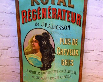 French hairdressing tin advertising sign metal old victorian antique vintage retro industrial not enamel