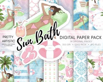 Summer Digital Paper pack, Fashion Illustration, Pool Summer Digital Paper, Sticker Paper Pack Watercolor Digital Paper Illustration Clipart