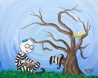 Open eye'd dreams is a print of an original art work in the style of Tim Burton.