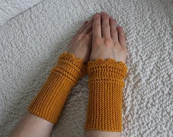 Knit Fingerless Mittens, Womens Honey Gloves, Hand Knit Gloves, Wrist Warmers