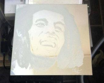 Hand engraved mirror Bob Marley