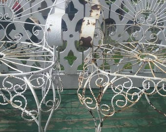 Pair of VinTage  Antique wireworks Peacock chairs.shabby beautiful! !pick up only in Maryland