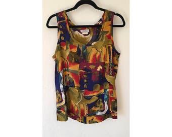 Animal Print Shirt/ Abstract Print/ Vintage Tank/ Festival Shirt/ Festival Clothing/ 9-s tank/ 90s clothing/ Linen Tank