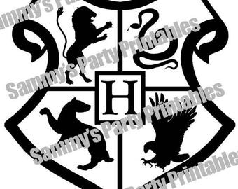 Harry Potter Hogwarts Crest - Silhouette Studio Cut File for Stencil and Clip Art Image - DIGITAL