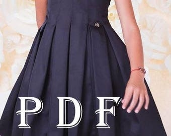 Dress PDF pattern - sizes 134, children's sewing pattern - Instant download