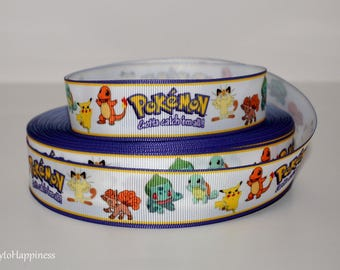 "Pokemon 7/8"" Grosgrain Ribbon 784 By the Yard"