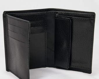 LEATHER portfolio / Extra classic / man/hand/card holder coin purse wallet/black skin made for