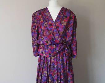 Vintage 80's Ladies Dress, Flower Print, Pleated Skirt, Size 16 Large