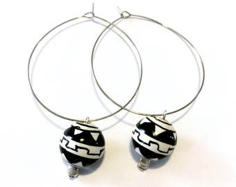 Aztec ceramic bead hoop earrings