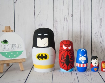 Superhero nesting dolls, stacking dolls, russian dolls, room decoration, birthday gift, wooden dolls, matryoshka, babushka