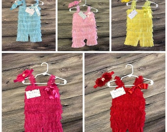 Lace romper with matching headband
