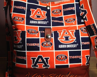 Handmade Auburn University Tigers Shoulder Purse