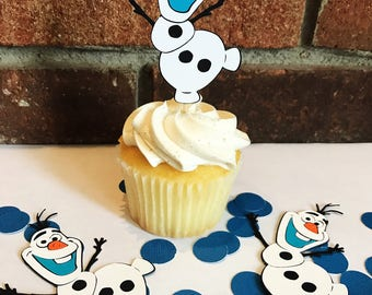 Olaf cupcake toppers//party decor//birthday