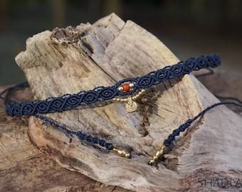 Macrame Necklace (Choker) in dark blue