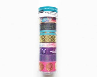 Set of 8 Washi Tapes, Recollections, Pink / Purple / Blue / Gold