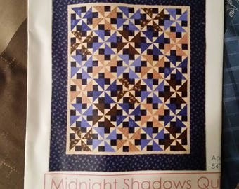 """Midnight Shadows Quilt Kit with fabric & instructions.  Finished size is 54"""" x 62"""".  Beautiful browns and blues.  Free Shipping to US only."""