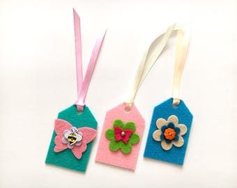 Gift tags, handmade gift tags, felt tags, gift tags