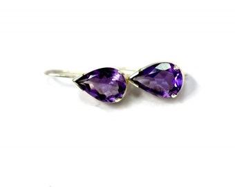AMETHYST EARRING - Sterling Silver Earring - Amethyst Pear Shape Earring - Dangling Silver Earring - Gift For Her.