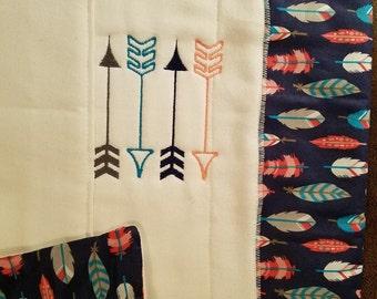 Embroidered Arrow Design Burp Cloth