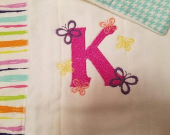 Colorful Butterfly Monogrammed Burp Cloth