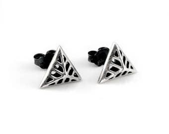 Silver Stud, Geometric Jewelry, Minimalist Jewelry, Triangle Jewelry, Triangle Earrings, Geometric Earrings, Minimalist Earrings, Rock Chic
