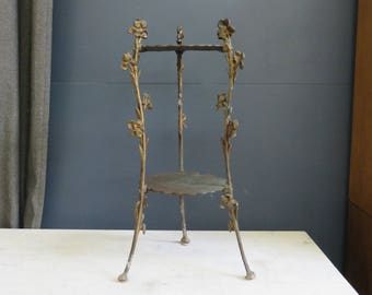 Antique 2-tiered Floral Side Table