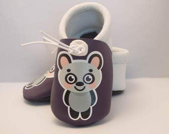 Panda Violet soft leather baby shoes baby shoes leather purple