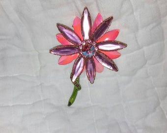 Vintage metal and crystal flower pin